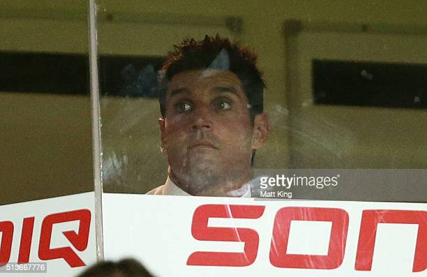 Sea Eagles coach Trent Barrett looks on after the round one NRL match between the Manly Warringah Sea Eagles and the Canterbury Bulldogs at Brookvale...