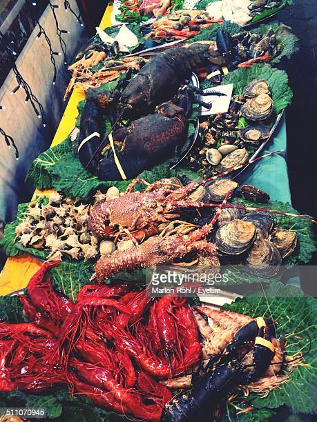 Sea food display for sale