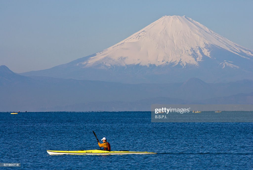 Sea Kayaker on Sagami Bay with Mt. Fuji in the Background