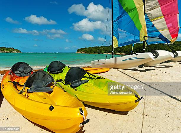 Sea Kayaks and sailing boats in Antigua