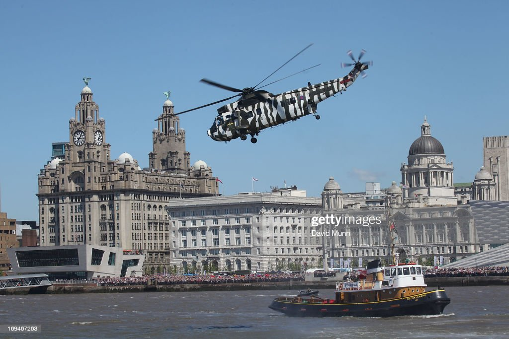 A Sea King helicopter engages in a demonstration during the 70th Commemoration of The Battle of The Atlantic on May 25, 2013 in Liverpool, England. The anniversary of The Battle of the Atlantic marks the longest continuous military campaign of World War II, which involved both sides fighting to control of supply routes, is being marked by a series of commemorative events over this weekend.