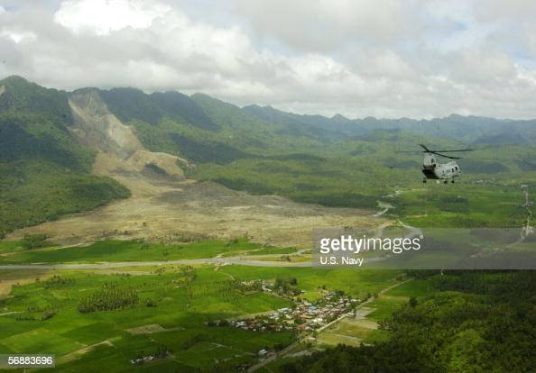 Sea Knight Helicopter makes an aerial assessment of the landslide on February 19 2006 in Saint Bernard on the island of Leyte in the Philippines A...