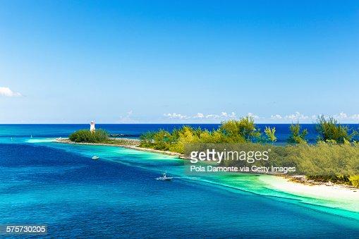 Sea lighthouse at Bahamas caribbean coastline