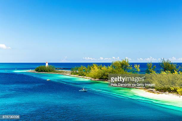 Sea lighthouse at Bahamas caribbean coastline