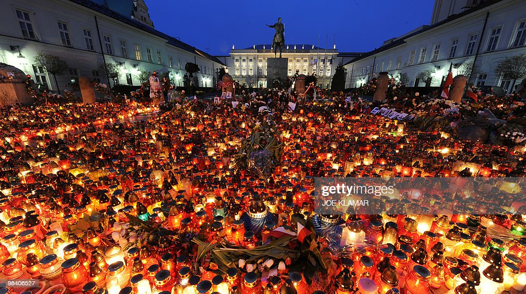 A sea of candles were laid out in front of the presidential palace in the early hours on April 11 2010 in Warsaw following the Polish government...