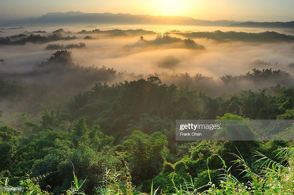 Sea of clouds with sunrising : Stock Photo