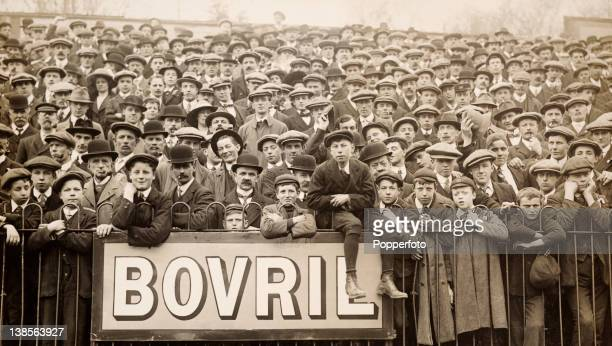 A sea of expectant faces await the match between Southampton and Millwall at the Dell in Southampton 19th April 1914