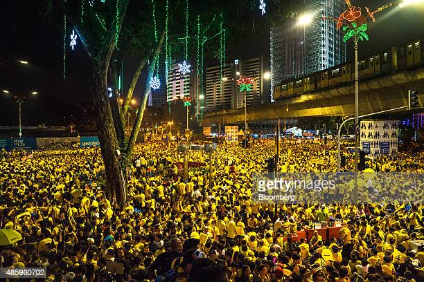A sea of protestors dressed in yellow gather around Dataran Merdeka during the Coalition for Clean and Fair Elections rally also known as Bersih in...