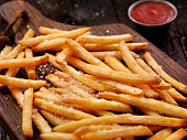 Sea Salt French Fries with Ketchup  - Photographed on Hasselblad H3D2-39mb Camera