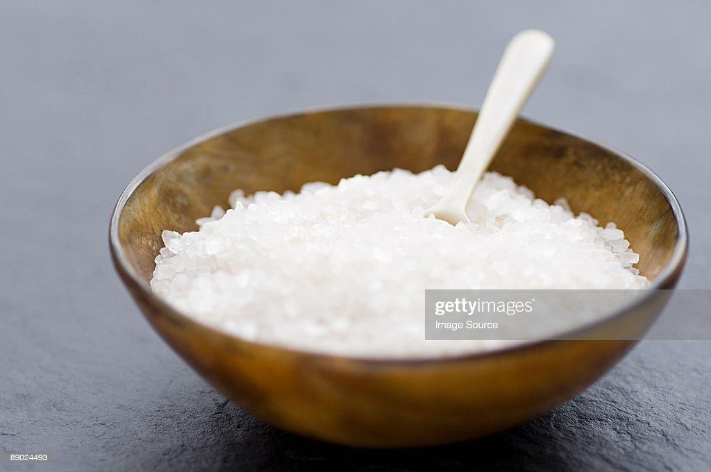 Sea salt in a bowl