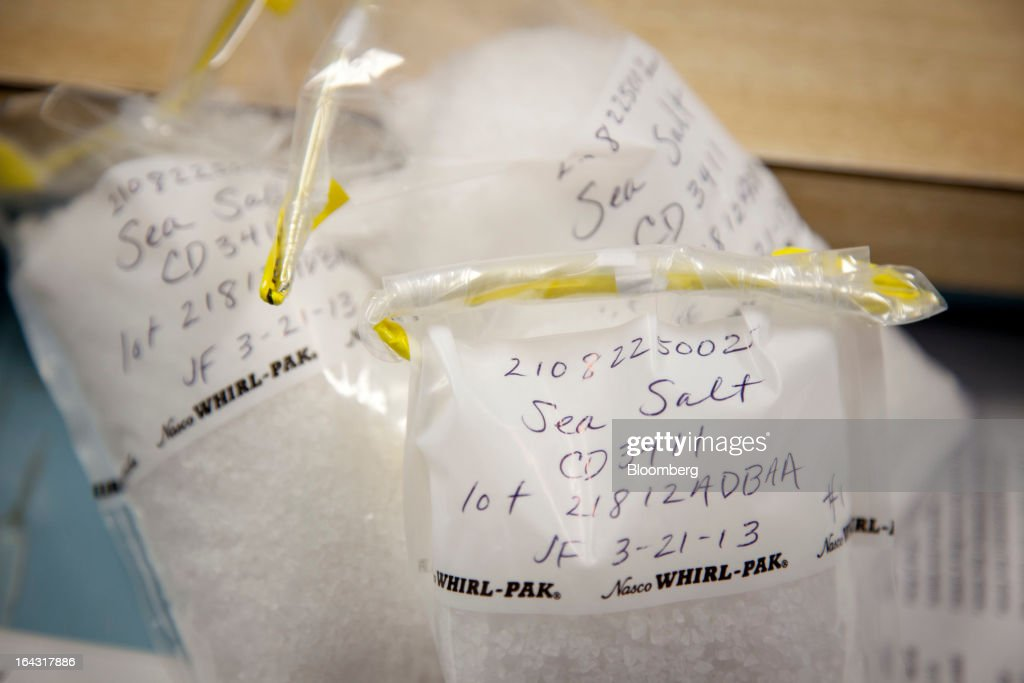 Sea salt used in J.R. Watkins lavender bath salts sits in the lab for testing at the company's production facility in Winona, Minnesota, U.S., on Thursday, March 21, 2013. Watkins Inc., founded in 1868, is a manufacturer of health remedies, baking products, and other household items. Photographer: Ariana Lindquist/Bloomberg via Getty Images