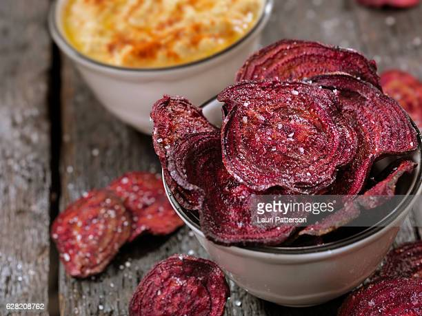 Sea Salted Beet Chips with a Hummus Dip