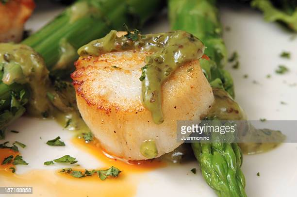 Sea scallop with green asparagus sauce