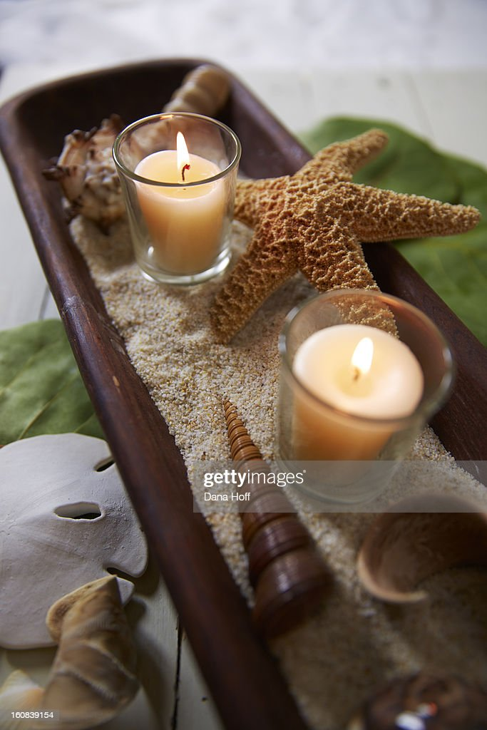 sea shells and candle in zen atmosphere : Stock Photo