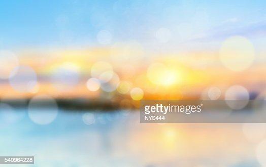 Sea shore horizon landscape illustration blurred  background. : Stock Photo
