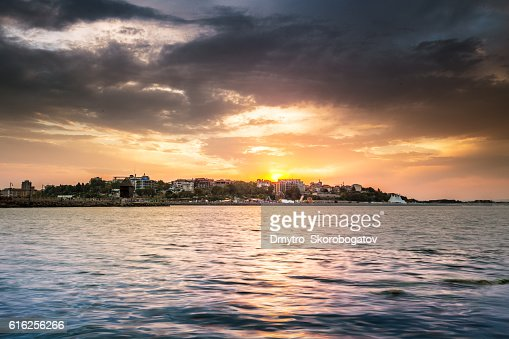 sea shore with a sandy beach with island : Stock Photo