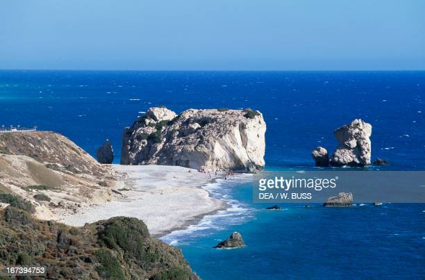 Sea stack and the bay of Petra tou Romiou Aphrodite's birthplace according to legend Province of Paphos Cyprus