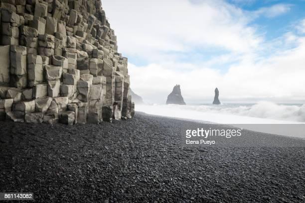 Sea Stacks, black beach, volcanic seascape