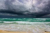 landscape view of the sea storm cloud hurricane irma