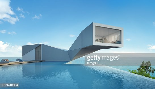 sea view house with pool in modern design, Abstract building : Stock Photo