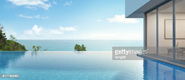 sea view house with pool in modern design : Stock Photo