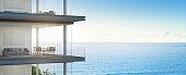 3d rendering of building with ocean