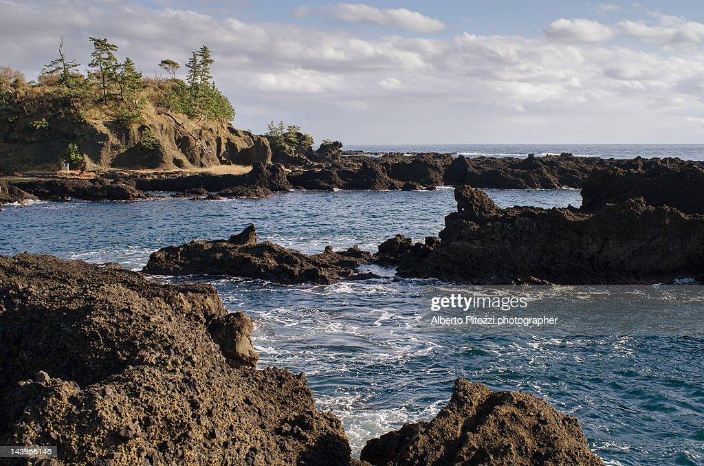 Sea view with black volcanic rocks
