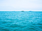 Sea view with boat, getaway holiday vacation background concept