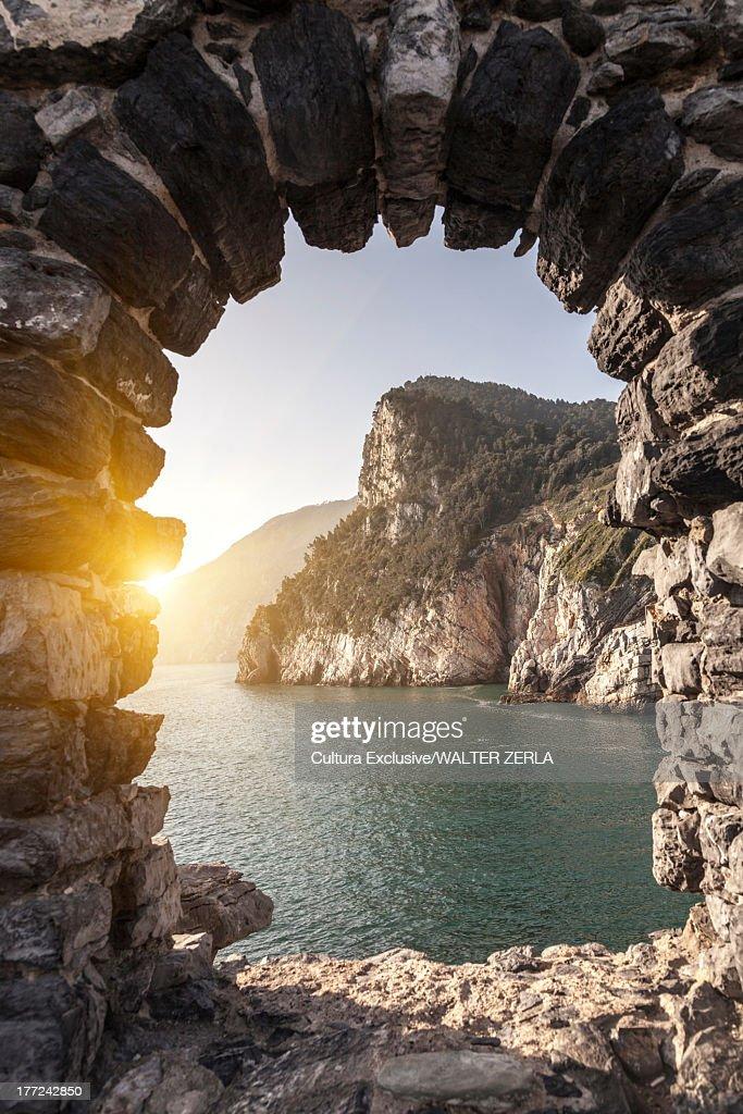 Sea viewed through arch, Portovenere, Cinque Terre, Liguria, Italy