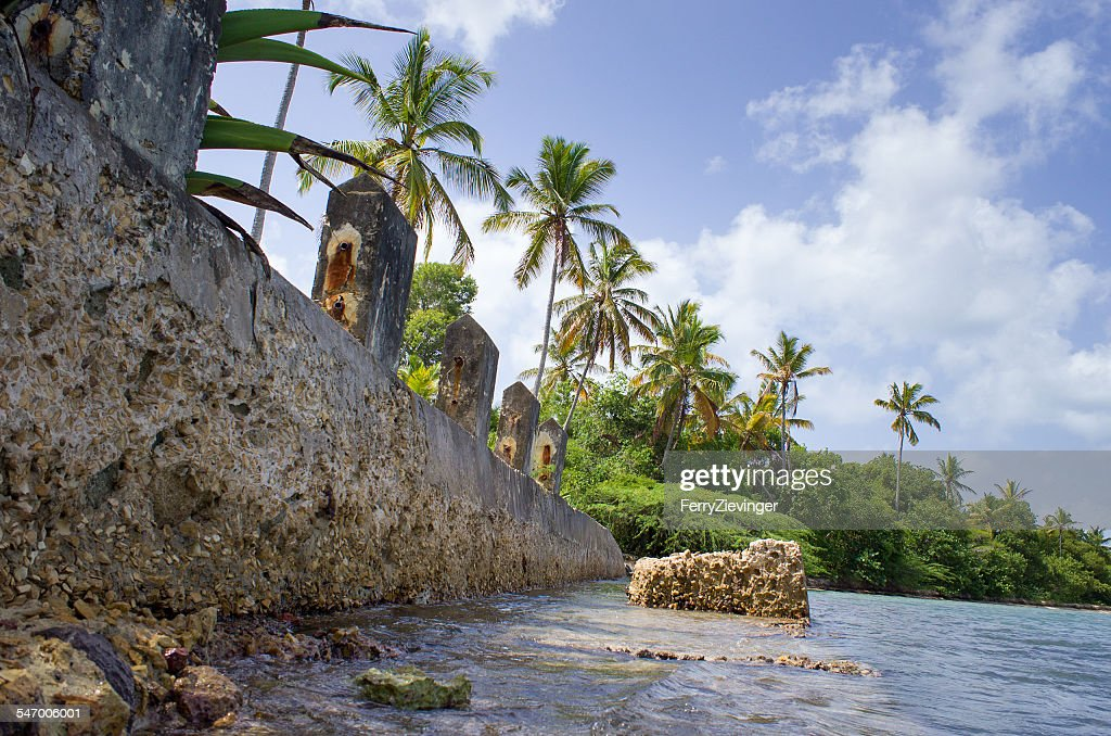 Antigua & Barbuda, Caribbean Sea, Antigua, Retaining wall in sea with forest in background