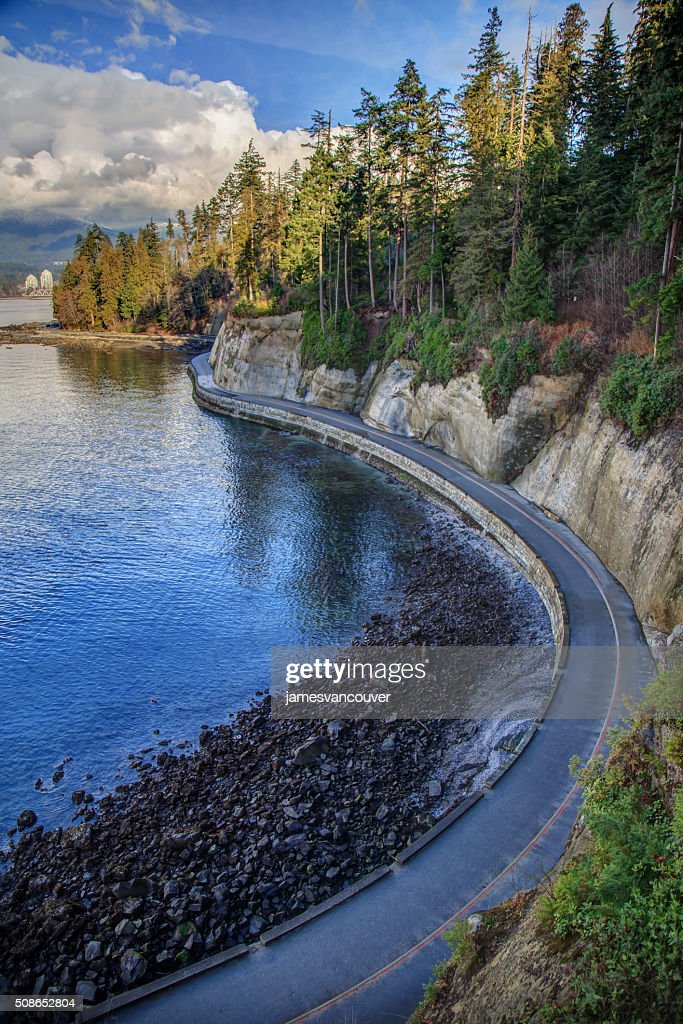 sea wall in Stanley Park, Vancouver, BC, Canada : Stock Photo