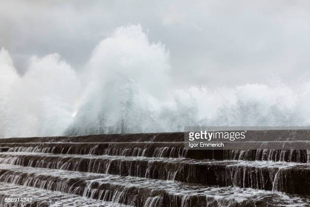 Sea water running over sea wall, Santa Cruz de Tenerife, Canary Islands, Spain, Europe
