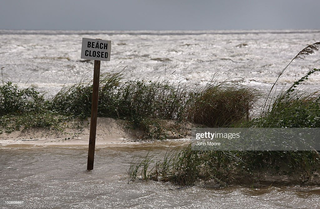 T 28 Sea water surges onto the beach ahead of the arrival of Hurricane Isaac to the Gulf Coast on August 28 2012 in Waveland Mississippi Many...
