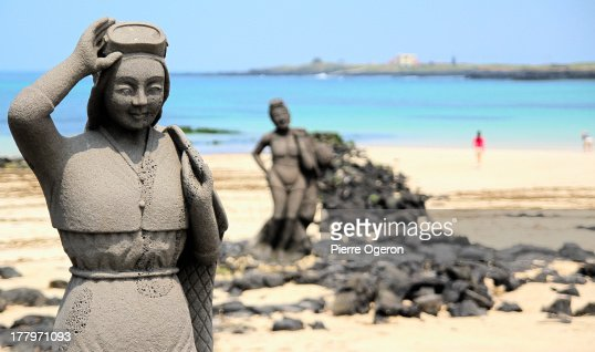 Sea Women Statues on the beach at Udo