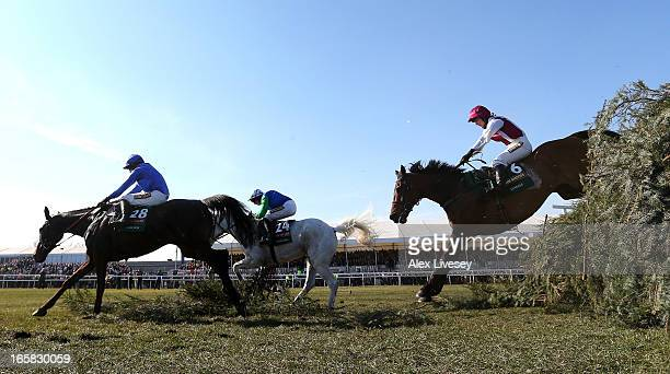Seabass ridden by Katie Walsh jumps the last fence behind Rare Bob ridden by Bryan Cooper and Swing Bill ridden by Connor O'Farrell during the John...