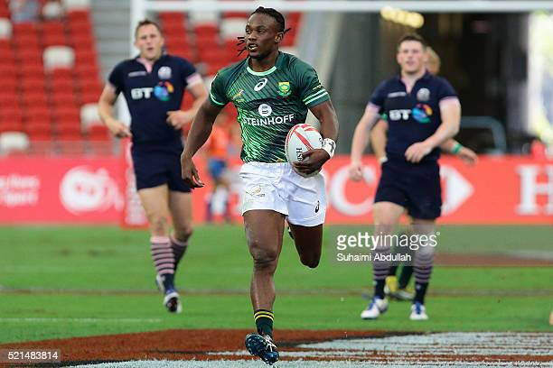 Seabelo Senatla of South Africa runs with the ball during the 2016 Singapore Sevens at National Stadium on April 16 2016 in Singapore