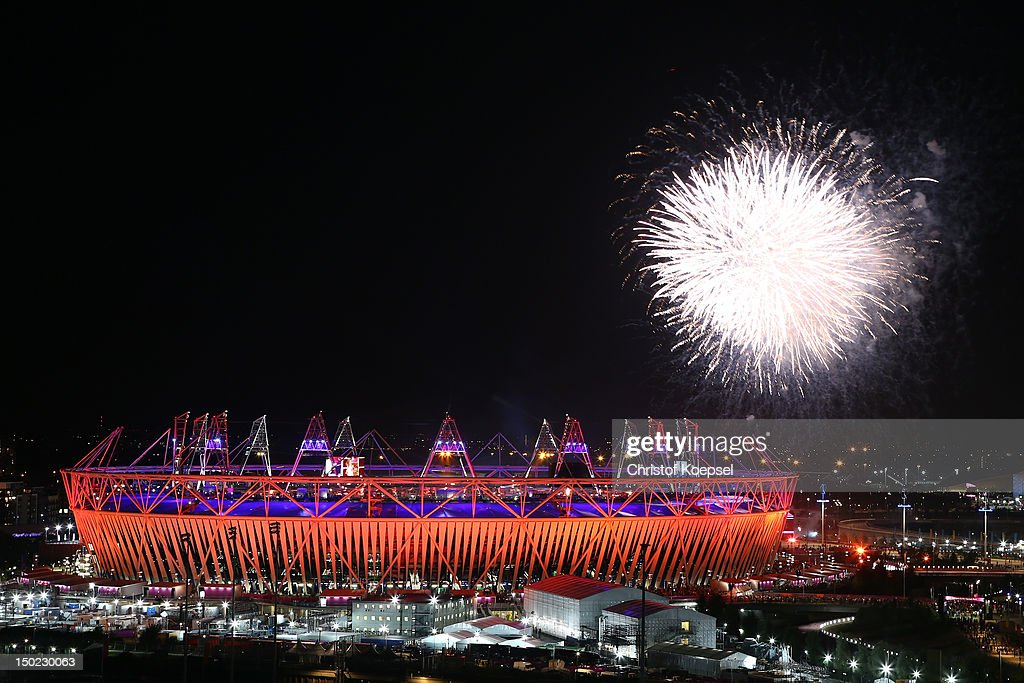 Seachlights over the Olympic Stadium during the closing ceremony of the 2012 London Olympic Games on August 12, 2012 in London, England. Athletes, heads of state and dignitaries from around the world have gathered in the Olympic Stadium for the closing ceremony of the 30th Olympiad.