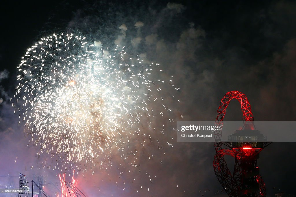 Seachlights over the Orbit during the closing ceremony of the 2012 London Olympic Games on August 12, 2012 in London, England. Athletes, heads of state and dignitaries from around the world have gathered in the Olympic Stadium for the closing ceremony of the 30th Olympiad.