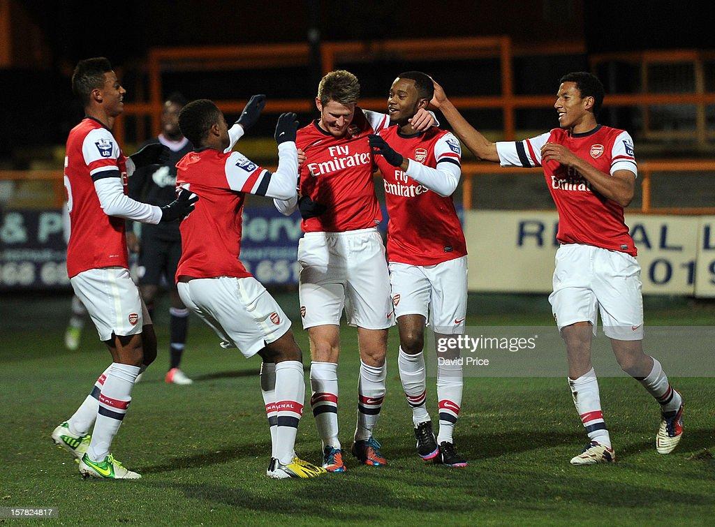 Sead Hajrovic celebrates scoring Arsenal's 1st goal with Martin Angha Chuba Akpom Zak Ansah and Isaac Hayden during the NextGen Series match between...