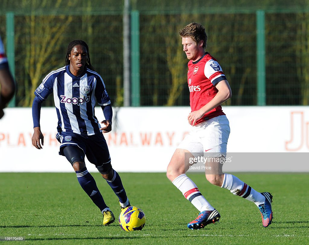 Sead Hajrovic of Arsenal is closed down by Romaine Sawyers of WBA during the Barclays Premier U21 match between Arsenal U21 and West Bromwich Albion U21 at London Colney on January 9, 2013 in St Albans, United Kingdom.
