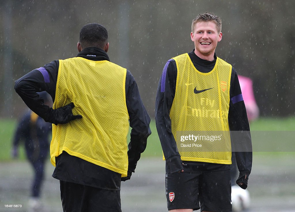 Sead Hajrovic of Arsenal laughs during a training session prior to the NextGen Series Semi Final match between Arsenal and Chelsea at Stadio Caruga...
