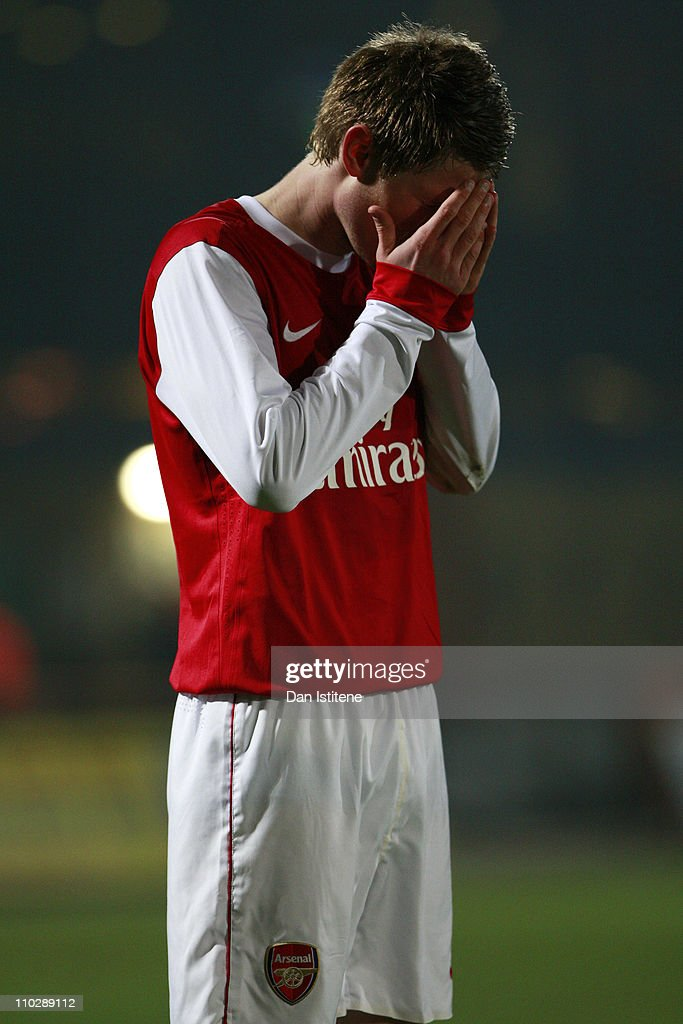 Sead Hajrovic of Arsenal prays before the start of the second half during the Barclays Premier Reserve League match between Arsenal and Liverpool at...
