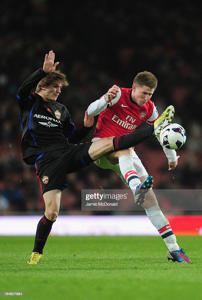 Sead Hajrovic of Arsenal U19 battles with David Khurtsidze of PFC CSKA U19 during the NextGen Series Quarter Final match between Arsenal U19 and PFC...