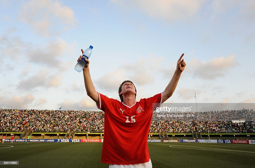 Sead Hajrovic of Switzerland celebrate his teams place in the Final during the FIFA U17 World Cup SemiFinal 1 between Colombia and Switzerland at the...