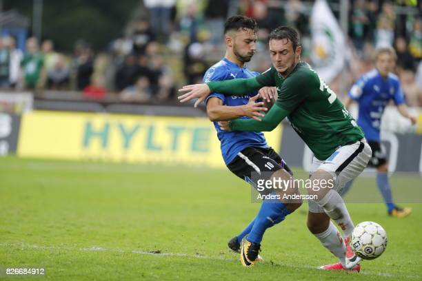 Sead Haksabanovic of Halmstad BK and Daryl Smylie of Jonkopings Sodra competes for the ball during the Allsvenskan match between Halmstad BK and...