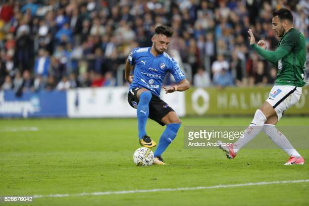 Sead Haksabanovic of Halmstad BK dribbles with the ball during the Allsvenskan match between Halmstad BK and Jonkopings Sodra IF at Orjans Vall on...