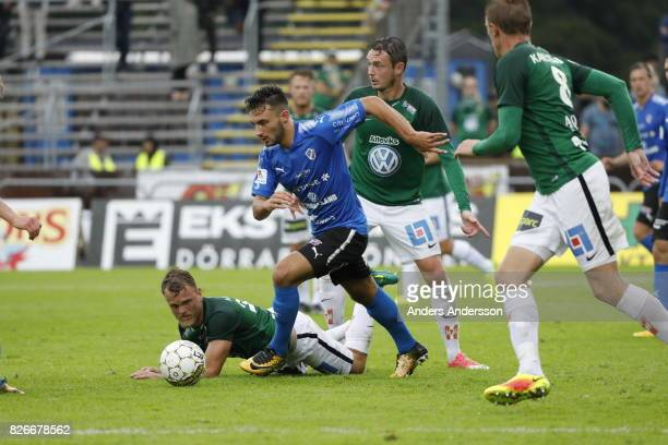 Sead Haksabanovic of Halmstad BK runs with the ball during the Allsvenskan match between Halmstad BK and Jonkopings Sodra IF at Orjans Vall on August...