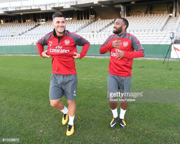 Sead Kolasinac and Alexandre Lacazette before a training session at the Korarah Oval on July 11 2017 in Sydney Australia