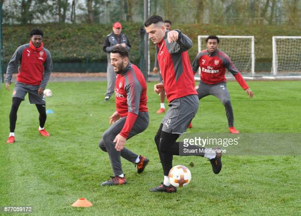 Sead Kolasinac and Granit Xhaka of Arsenal during a training session at London Colney on November 21 2017 in St Albans England