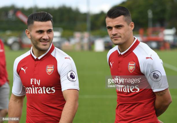 Sead Kolasinac and Granit Xhaka of Arsenal during the 1st team squad photocall at London Colney on September 12 2017 in St Albans England